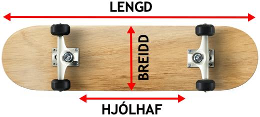 Hjólabretti breidd, lengd og hjólhaf